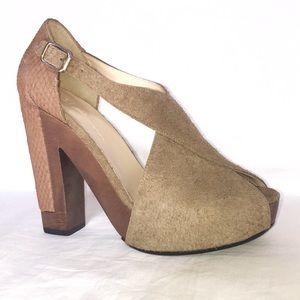 3.1 Phillip Lim X-cellent tan suede wood heel